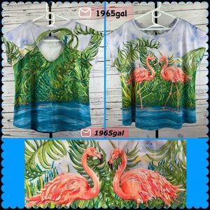 Art & Sol Amber Moran Tropical Retro Flamingo Top